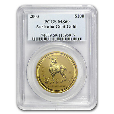 2003 1 oz Gold Lunar Year of the Goat MS-69 PCGS (Series I) - SKU #70248