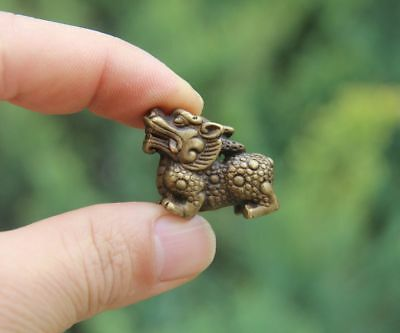 3 CM 100% Pure Bronze China Fengshui Animal Foo Dog Lion Dragon Amulet Sculpture