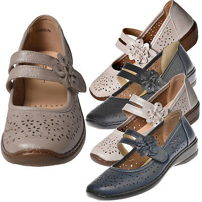 Summer Womens Ladies Mary Jane Flats Grip Sole Padded Office Work Comfort Shoes