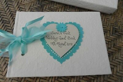 Personalised Wedding Guest Book  with presentation box - aqua blue teal design