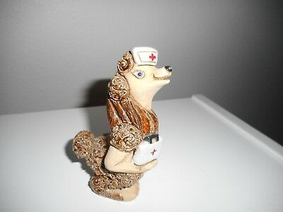Poodle Dog Dressed As Nurse Figurine