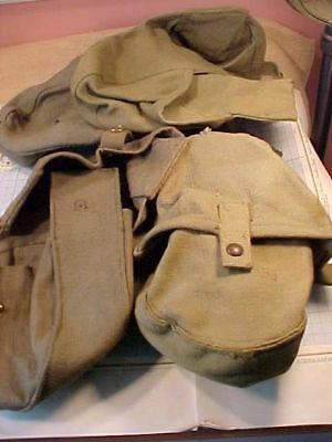 Original Wwii Lot Of 4 Lewis Gun Canvas Ammo Pouches -  South Africa 1941