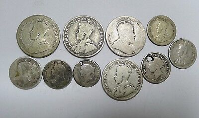 Lot of 10 Early Silver Coins CANADA! Well Circulated. 25,10 and 5 Cents!