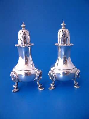 "Pair Silver Pepper Pots - Heavy 280gm/9.0 Tr - 1948 Nayler Bros - 4.5""/11.5cm t"