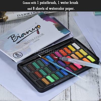 36 Colors Artist Solid Watercolor Paint Pigment w/Water Brush & Watercolor Paper