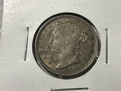 1876H Hongkong 20 Cents silver world foreign coin AU low mintage double die