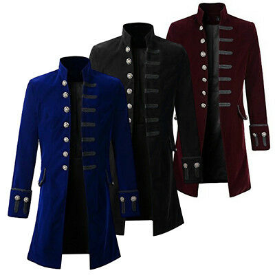 Mens Coat Fashion Steampunk Retro Tailcoat Jacket Gothic Coat Uniform RT