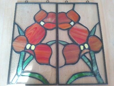 2x stained glass hangable framed twin panels