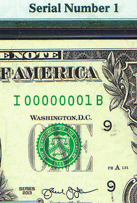 SERIAL # ONE ( 00000001 ) 2013 PMG graded $1 Minneapolis = Fancy Binary number