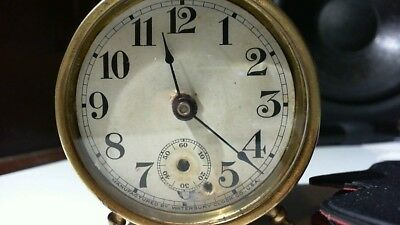 Small Waterbury Antique Brass Clock 1890's Runs fine,See pics for condition.