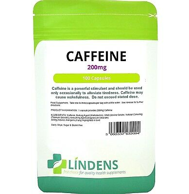 Caffeine Energy 200mg and Vitamin B1 (100 capsules) Energy Lindens