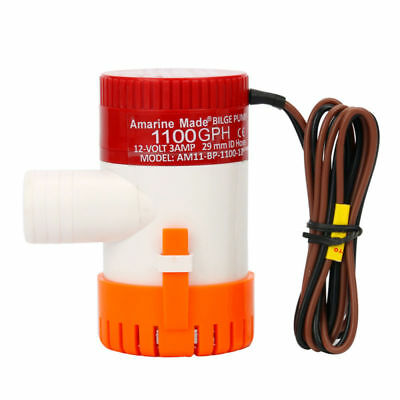 "Amarine-made 12V Submersible Marine Boat Electric Bilge Pump 1100GPH1-1//8/""Outlet"