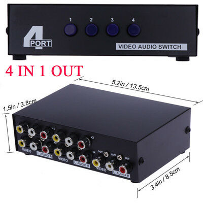 4-Way Av Switch Rca Video L/r Audio Box Selector Switcher Out Composite 4 In 1
