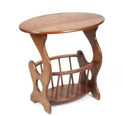 Solid Oak Magazine Rack Oval Top End Table - FREE Shipping [PL3915]
