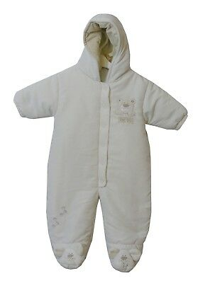 3b4efe6880377 Baby Boys Girls Tiny Ted Cream White Padded Hooded Snow Pram Suit Age 6-9