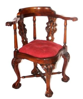 Antique Edwardian Carved Walnut Corner Chair - FREE Shipping [PL4408]