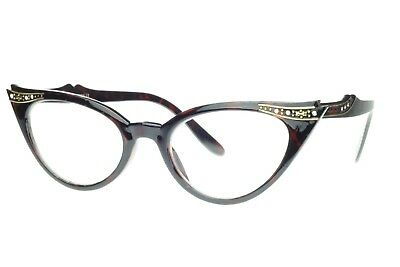 Womens Cat Eye Glasses Sunglasses Tort Retro Style Rhinestone Frame Clear Lens