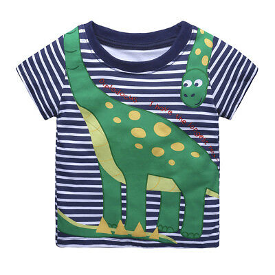 Baby Boys Short Sleeve T-Shirt Summer Kids Cotton Dinosaur Printed Tops Clothes