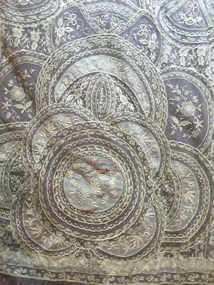 Rare Exquisite Pair Normandy Net Lace Antique French Curtain Panels - Beautiful!