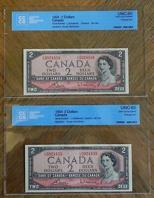 Set of 2 1954 $2 Canadian Bank Notes UNC-65 Gem UNC Changeover in Sequence