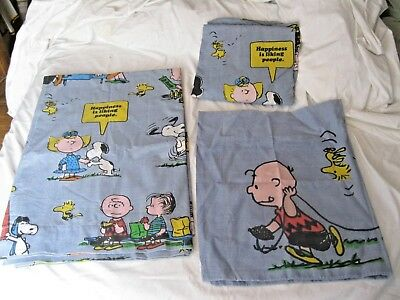 Vtg Peanuts, Snoopy Charlie Brown, 3 Piece Twin Sheet Set