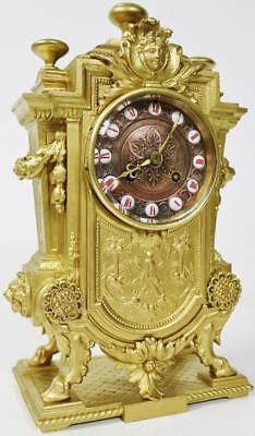 Impressive Antique French Ormolu Striking Cubed 8 Day Pierced Mantel Clock C1870