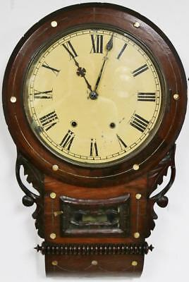 Antique 8 Day Drop Dial Wall Clock Marquetry Inlaid Carved Striking Wall Clock