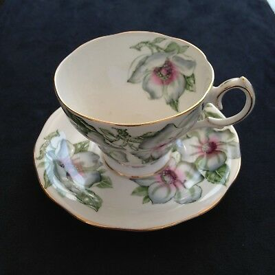 QUEEN ANNE CHINA, MAGNOLIA TEACUP AND SAUCER  gift for her