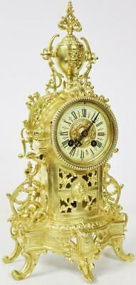 Fine Antique French 8 Day Bell Striking Pierced Bronze Ormolu Mantel Clock