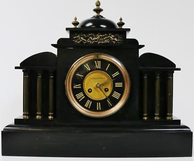 Antique Polished Slate French 8 Day Gong Striking Black Marble Mantel Desk Clock