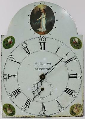 English Antique 30Hour Grandfather Clock Striking Longcase Movement Painted Dial