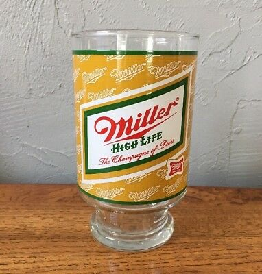 Vintage Miller High Life Beer 32oz Large Drinking Glass Excellent Condition