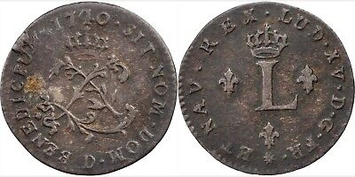 1740-D (Lyon) French Colonies Sous Marques, Vlack 72, NICE VF, sharp date