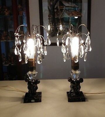 Pair of Vintage Italian Waterfall Lamps With Cherubs, Prisms & Marble Base