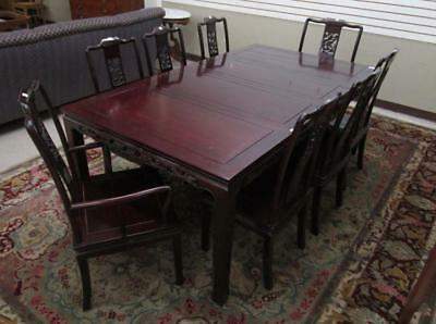 CHINESE ROSEWOOD DINING TABLE AND CHAIR SET, squar Lot 432