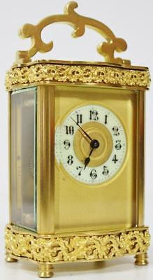 Serpentine Antique Ormolu Bronze Fret Pierced 8 Day Mantel Carriage Clock 1880