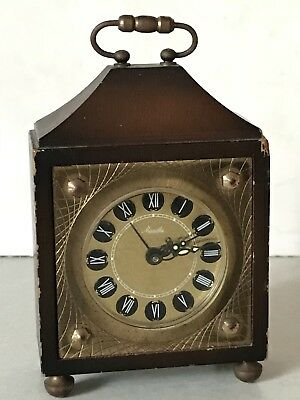 VINTAGE MAUTHE Miniature BRASS CARRIAGE Alarm CLOCK 11 Cm's