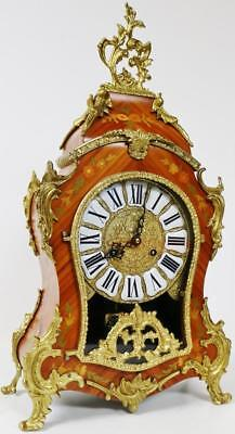 Amazing Large Vintage Marquetry Inlaid Rococo Brass Ormolu Boulle Mantel Clock