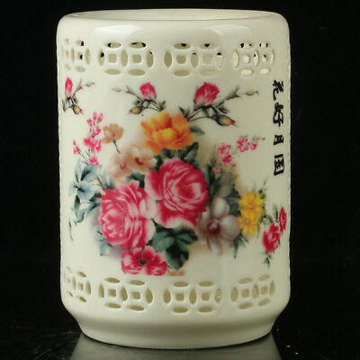 Chinese Porcelain Hand-painted  Flowers Hollow Brush Pot W Qianlong Mark R1140
