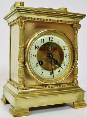 Antique French Cubed Bronze Bell Striking 8 day Mantel Clock & Barometer - C1870
