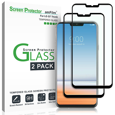 LG G7 ThinQ amFilm Full Cover Tempered Glass Screen Protector (2 Pack, Black)