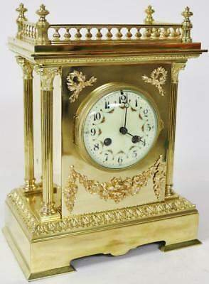 Superb French Antique Bell Striking Cubed Ormolu 8 day Mantel Clock Japy Freres