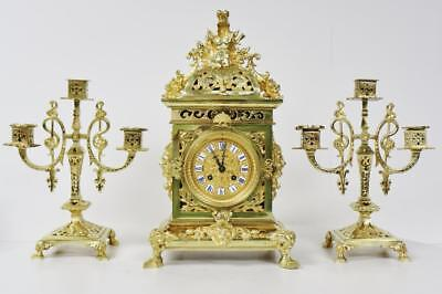 Pierced Bronze Candelabra Clock Striking Cubed 3Piece Mantel Clock Garniture Set