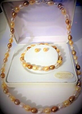 NEW Solid 14k Yellow Gold Pearl Necklace Bracelet & Earrings SET *FREE SHIP !