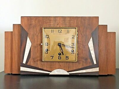 JUNGHANS WURTTEMBERG Mantel Clock Art Deco Antique SKYSCRAPER rare WESTMINSTER
