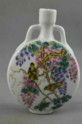Collectable Handwork Porcelain Paint Colorful Flower & Bird Lucky Elegant Vase