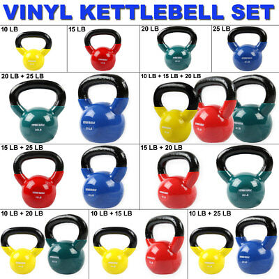 Heavy Weights Set Kettlebell Cast Iron Vinyl Coated Fitness Workout Gym Training