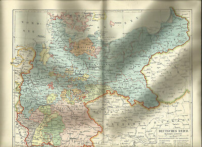 Deutsches Reich - Original Alte Landkarte 1903 Karte Antique Map