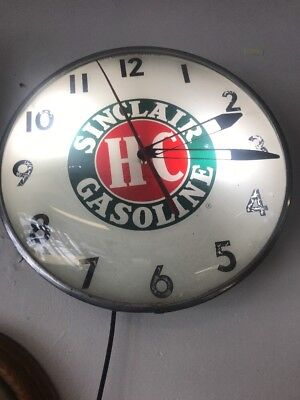 Early 1900s Vintage Glass Sinclair Gasoline Light Up Clock