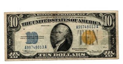 1934A $10 Ten Dollar Bill Yellow Seal North Africa Silver Certificate Note